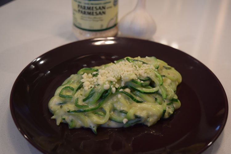 Zoodles and alfredo sauce